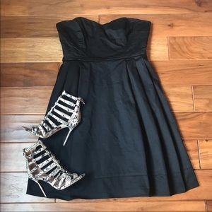 Calvin Klein Black Strapless Pleated Mini Dress